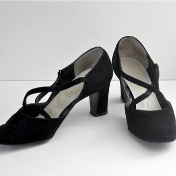 Vintage 50s Black Suede Socialites Crossover MaryJane Shoes