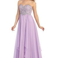 Chiffon Prom Dress with Layered Skirt in Lilac