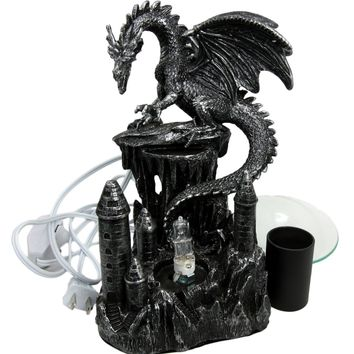 "Atlantic Collectibles Smaug Castle Guardian Dragon Electric Oil Burner Tart Warmer Aroma Scent Statue 9.5"" Tall Figurine"