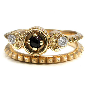 Red Rose Cut Garnet Crescent Moon and Diamond Engagement Ring Set - 18k Yellow Gold Blood Moon Goddess