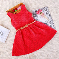 Hot Selling Girls Lace Dress Sleeveless Pierced Baby Girls Dresse