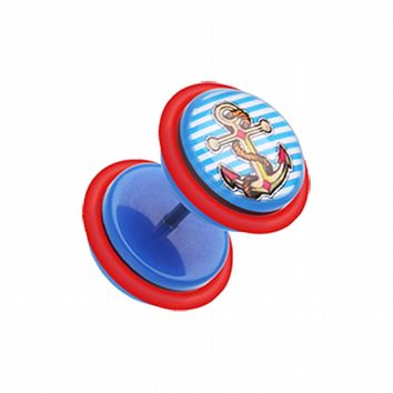 Anchor Stripes Acrylic Fake Plug with O-Rings