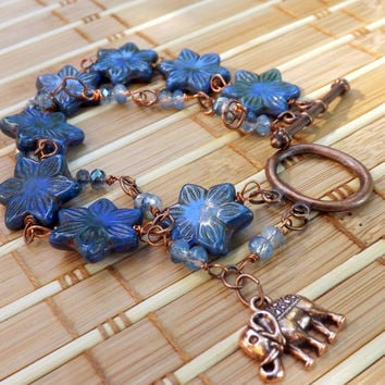 Czech Glass Bracelet, Blue Flower Star Bracelet, Wire Wrapped Two-Strand Bracelet by Lyrisgems