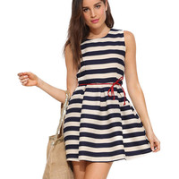 Striped Sleeveless Mini Skater Dress