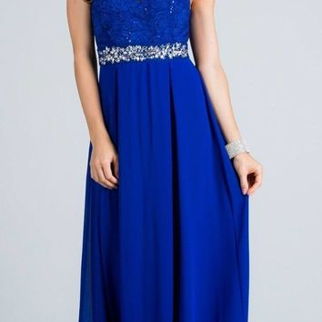 Empire Embellished Waist Cut Out Back Long Formal Dress Royal Blue