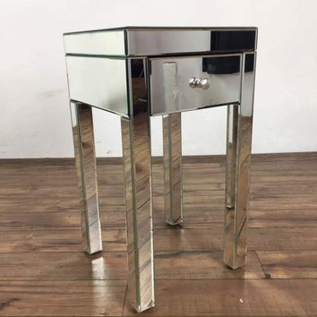 Contemporary Single Drawer Mirrored End Table