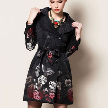 Black Floral Print Waist Tie Trench Coat