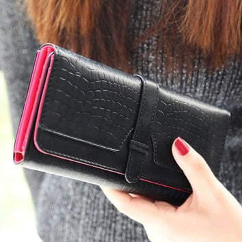 Ladies Vintage Black Leather Wallet for Women