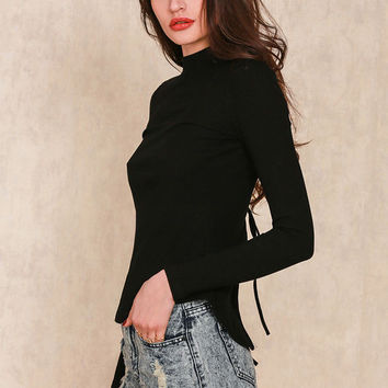 Open back knitted blouse