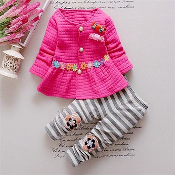Xemonale spring Baby girls clothing sets cotton fashion flower long sleeved candy coat + striped pants suit set children outfits