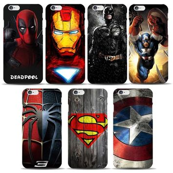 Marvel Avengers Case for coque iphone 7 8 6s Plus 5s SE Deadpool Spiderman Captain America Shield Ironman Superhero Phone Covers