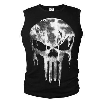 The Punisher Slim Lycra Elastic T-Shirt Men's Cosplay Costume Tank Tops Tees Ghost Shirt Skull Sleeveless