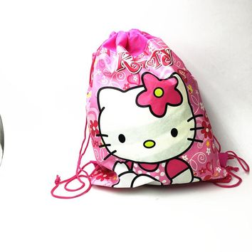 1pc/lot Kitty mouse drawstring backpack bags hello kitty birthday party decorations hello kitty bags 27*36cm party gift bag