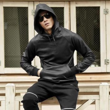Mens slim leather Hoodies
