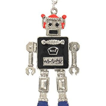 Retro Robot Necklace Vintage Silver Tone Toy Pendant NO64 Fashion Jewelry