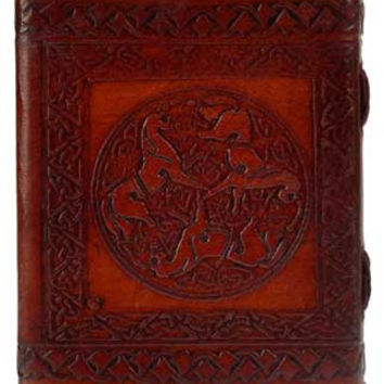 Epona Celtic Horses Leather Covered Journal with Latch