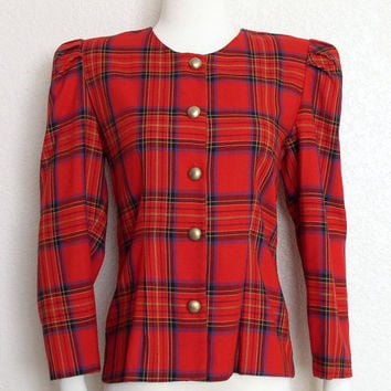 SALE Vintage 80s Red Plaid Jacket - Women's Collarless Puff Sleeve Jacket - Size 5 / 6 Small
