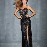 Night Moves by Allure 2014 Prom Dresses - Black Sequin Strapless Sweetheart Prom Dress