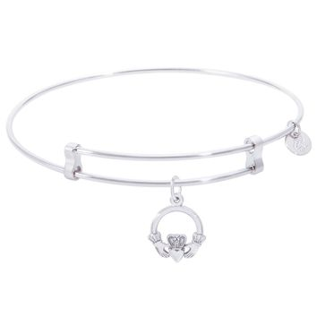Sterling Silver Confident Bangle Bracelet With Claddagh Charm