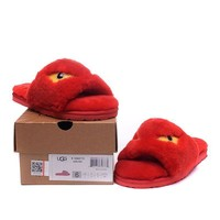 LFMON UGG Big Eyes Little Monster Slipper Women Men Fashion Casual Wool Winter Snow Boots Red
