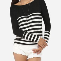 Casual Boat Neck Dacron Striped Long-sleeve-t-shirt
