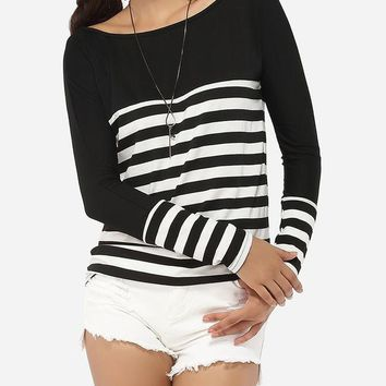 Streetstyle  Casual Boat Neck Dacron Striped Long-sleeve-t-shirt