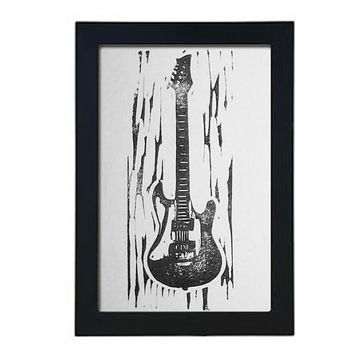 Small Electric Guitar hand-pulled linocut relief print