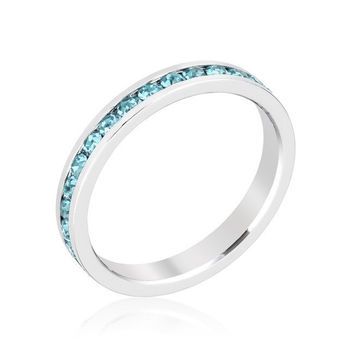Stack Me Aquamarine - Rhodium Plated Brass Ring With Round Cut Aquamarine Colored Swarovski Crystals