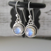Moonstone Earrings, Sterling Silver Moonstone, Round Dangling Moonstone Earrings, Moonstone Jewelry