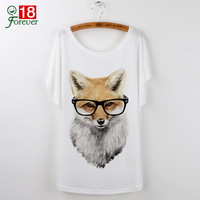 New Summer Tops 2016 Animal T-Shirts For Women Clothing Cute Fox Short Sleeve White T Shirt Camiseta Feminina Tee Shirt Femme