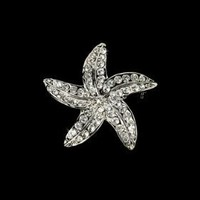 Silver Starfish Crystal Bridal Brooch Pin Hair Clip