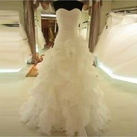 BIG SALE Ruffled Sweetheart Fit and Flare Wedding Dress Fluffy Bridal Gown