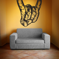 Vinyl Wall Decal Sticker Rock On Hand #1183