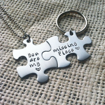 2 Puzzle pieces personalized keychain and necklace by CMKreations