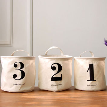 Folding Cotton Linen 1 2 3 Organizer Waterproof Storage Baskets Bag Box Flowerpot For Toy Sundries Clothes Laundry Floral Bucket
