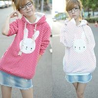 Super Cute Fashion Korea Bunny Women Grils Thick Cotton Winnie Hoodie Tops Coat