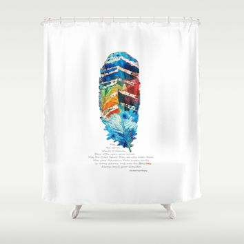 Colorful Feather Art - Blessing - By Sharon Cummings Shower Curtain by Sharon Cummings