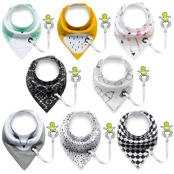Toddler Baby Bibs with Pacifier Clip Unisex 4pcs Burp Bandana 100% Organic Cotton Soft  Triangle Scarf  Bib Pacifier Including