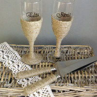 2 Champagne Glasses and Rustic Cake Serving Set, Simple Set of burlap style flutes and cake knifes