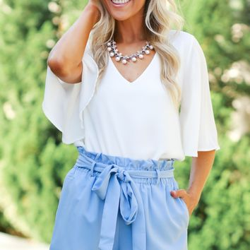 High Ruffle Shorts Blue