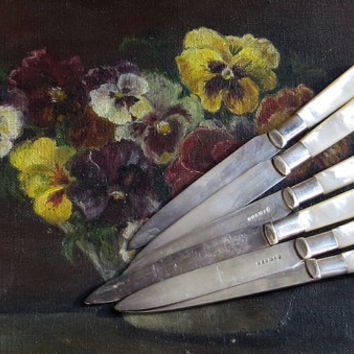 Vintage Mother of Pearl Knife Set, Silverplate Cutlery, Silverware, Set of Six, Fruit or Fish Knives, MOP Handle Flatware, Cottage Dining