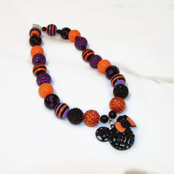 Chunky Halloween Bubblegum Necklace with Orange and Black Rhinestone Mouse Ear Pendant-Halloween Necklace-BeadsnTime-Halloween Jewelry