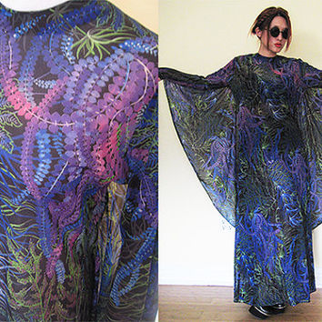 Vintage 60's 70's collectible gypsy hippie boho bohemian festival witch blue print batwing caftan sheer see through beach cover duster maxi