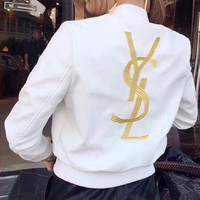 YSL Embroidery Leather Long Sleeve Cardigan Jacket Coat