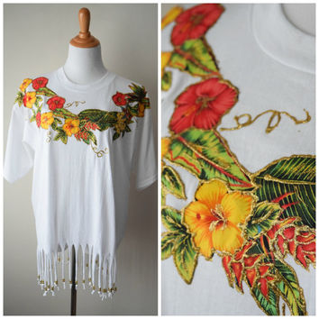 80s Tropical Floral Beaded Fringe T-Shirt // Appliqué Hibiscus Flowers w Gold Glitter & Beads // Summer Hipster Kitsch, Sz XL