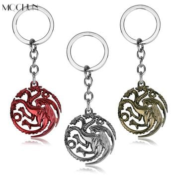 MQCHUN Game Of Thrones Keychain House Targaryen Dragon Alloy Keyring Key Chain Ring Chaveiro Men Jewelry Movie Souvenir Gift