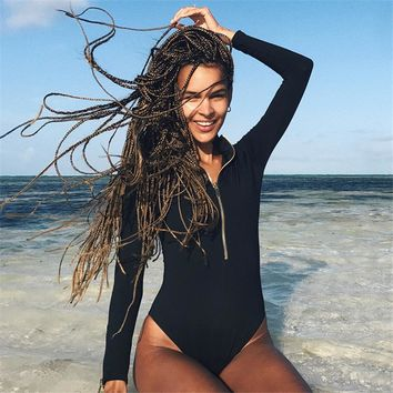 Women Sexy Bodysuits Black Jumpsuit Playsuit Long Sleeve Bodycon Romper Overalls Zipper Cotton Onesuit One Piece 2017 New Macacao