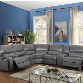 3 pc Saul collection gray leather-aire upholstered sectional sofa with power recliners