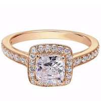 "Ben Garelick Royal Celebrations ""Nora"" Cushion Halo Diamond Engagement Ring"