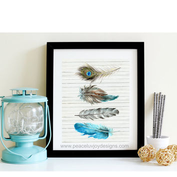 Shabby Chic Printable, Boho Wall Decor, Feather Wall Art, Nursery Decor, Wall Art, Office Decor, Boho Chic, Boho Nursery Gift, Shabby Decor